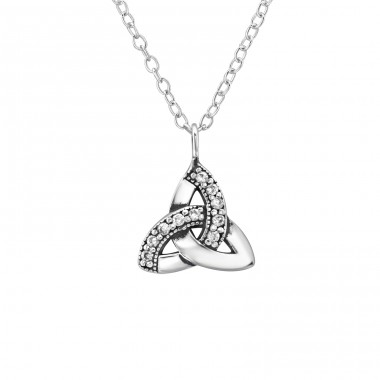 Celtic Knot - 925 Sterling Silver Necklace with stones A4S31612
