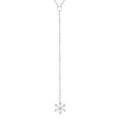 Snowflake Y - 925 Sterling Silver Necklace with stones A4S31774