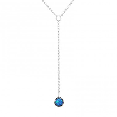 Round Y Necklace - 925 Sterling Silver Necklace with stones A4S31776