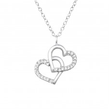 Double Heart - 925 Sterling Silver Necklace with stones A4S32085
