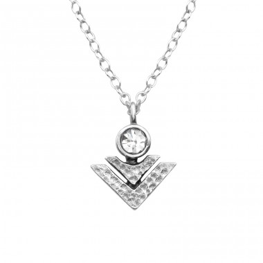 Geometric - 925 Sterling Silver Necklace with stones A4S32086