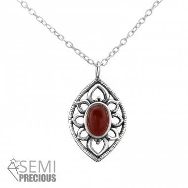 Antique - 925 Sterling Silver Necklace with stones A4S33002