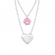 Heart  Layer Necklace - 925 Sterling Silver Necklace with stones A4S33004