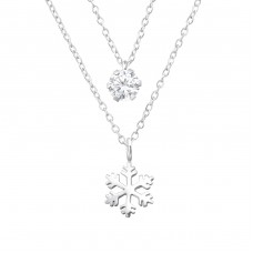 Snowflake Layer Necklace - 925 Sterling Silver Necklace with stones A4S33007