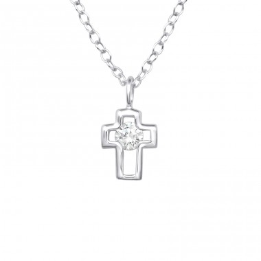 Cross - 925 Sterling Silver Necklace with stones A4S33280