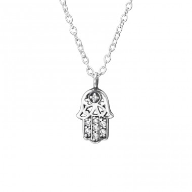 Hamsa - 925 Sterling Silver Necklace with stones A4S33815