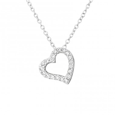 Heart - 925 Sterling Silver Necklace with stones A4S33891