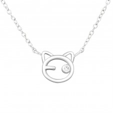 Cat - 925 Sterling Silver Necklace with stones A4S33897