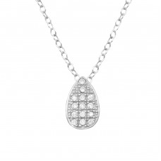 Teardrop - 925 Sterling Silver Necklace with stones A4S34007