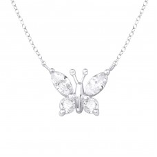 Butterfly - 925 Sterling Silver Necklace with stones A4S34008