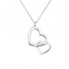 Double Heart - 925 Sterling Silver Necklace with stones A4S34028
