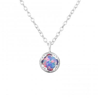Round Opal - 925 Sterling Silver Necklace with stones A4S34032