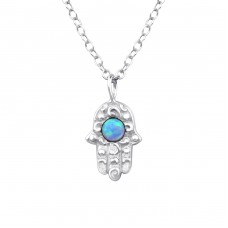 Hamsa Opal - 925 Sterling Silver Necklace with stones A4S34189