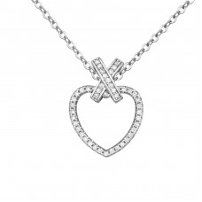 Heart - 925 Sterling Silver Necklace with stones A4S34444