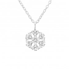 Snowflake - 925 Sterling Silver Necklace with stones A4S34564