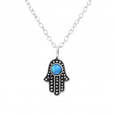 Hamsa - 925 Sterling Silver Necklace with stones A4S34566