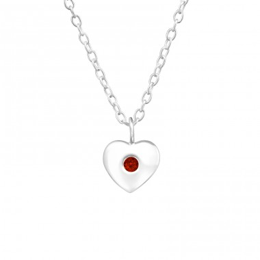 Birthstone Heart - 925 Sterling Silver Necklace with stones A4S34853