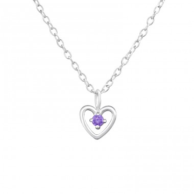 Birthstone Heart - 925 Sterling Silver Necklace with stones A4S34854