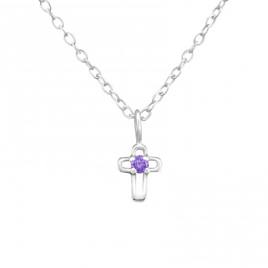 Birthstone Cross - 925 Sterling Silver Necklace with stones A4S34856