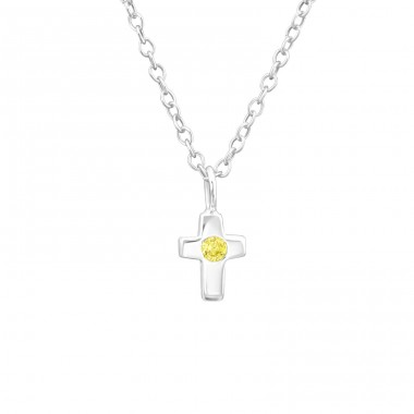 Birthstone Cross - 925 Sterling Silver Necklace with stones A4S34920