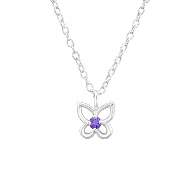 Birthstone Butterfly - 925 Sterling Silver Necklace with stones A4S34921