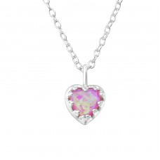 Heart Opal - 925 Sterling Silver Necklace with stones A4S35131