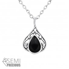 Teardrop - 925 Sterling Silver Necklace with stones A4S35228