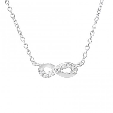 Infinity - 925 Sterling Silver Necklace with stones A4S35270