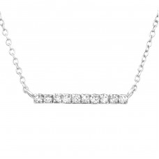Bar - 925 Sterling Silver Necklace with stones A4S35365