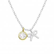 Bow - 925 Sterling Silver Necklace with stones A4S35563