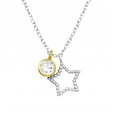 Star - 925 Sterling Silver Necklace with stones A4S35567