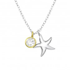 Starfish - 925 Sterling Silver Necklace with stones A4S35568