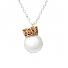 Crown - 925 Sterling Silver Necklace with stones A4S36228