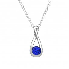 Teardrop - 925 Sterling Silver Necklace with stones A4S36282
