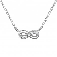 Infinity - 925 Sterling Silver Necklace with stones A4S36289