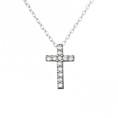 Cross - 925 Sterling Silver Necklace with stones A4S36349