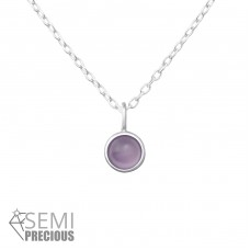 Round - 925 Sterling Silver Necklace with stones A4S36361