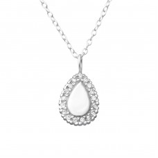 Teardrop - 925 Sterling Silver Necklace with stones A4S36362