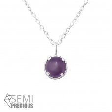 Round - 925 Sterling Silver Necklace with stones A4S36363
