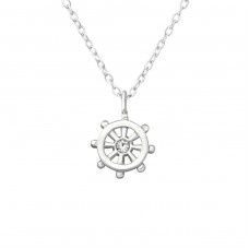 Ship's Wheel - 925 Sterling Silver Necklace with stones A4S36442