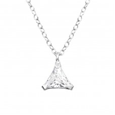 Triangle - 925 Sterling Silver Necklace with stones A4S36504