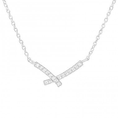 Cross - 925 Sterling Silver Necklace with stones A4S36815