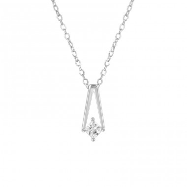 Geometric - 925 Sterling Silver Necklace with stones A4S36820