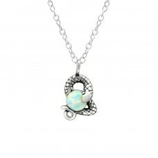 Snake - 925 Sterling Silver Necklace with stones A4S36821
