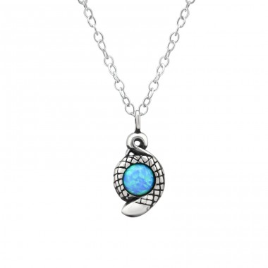 Snake - 925 Sterling Silver Necklace with stones A4S36822
