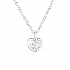 Heart - 925 Sterling Silver Necklace with stones A4S36828