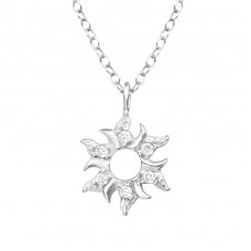 Sun - 925 Sterling Silver Necklace with stones A4S36829