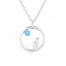 Circle - 925 Sterling Silver Necklace with stones A4S36830