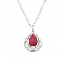 Pear - 925 Sterling Silver Necklace with stones A4S36832