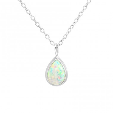 Teardrop - 925 Sterling Silver Necklace with stones A4S36833